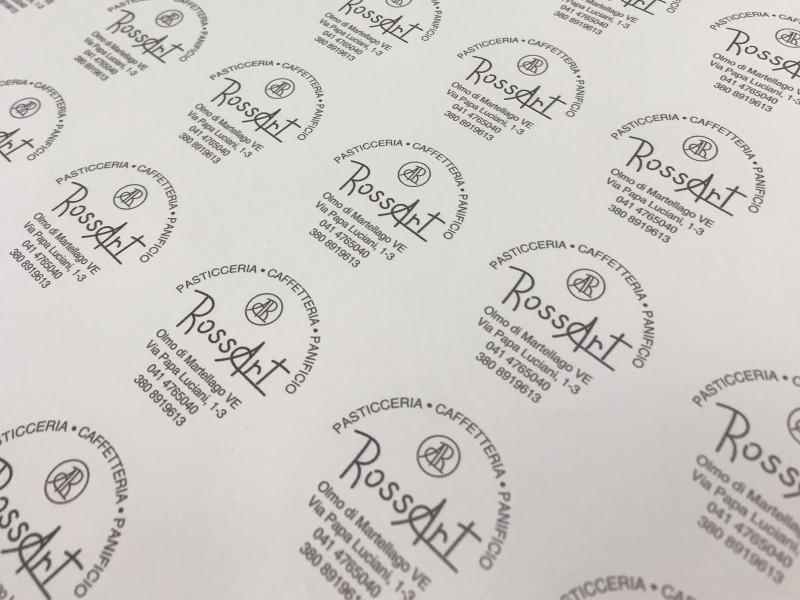 Stampa etichette adesive tonde pasticceria RossArt