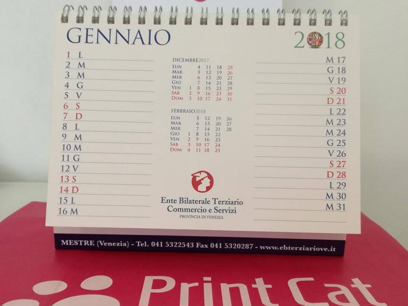 Stampa calendario scrivania 2018 azienda veneziana Ente Bilaterale Terziario Commercio e Servizi
