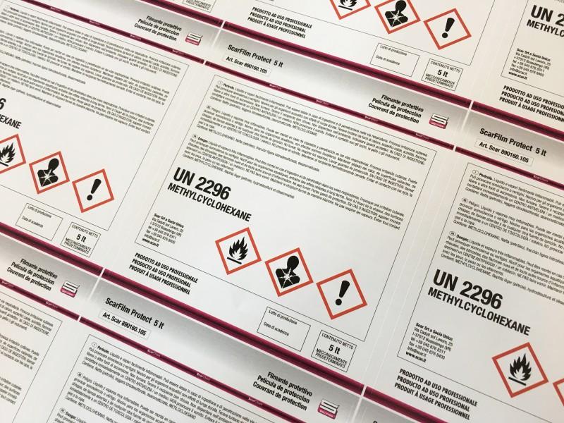 Etichette adesive personalizzate  per contenitori e prodotti industriali