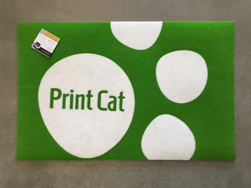 Tappeto Intarsiato Print Cat Verde
