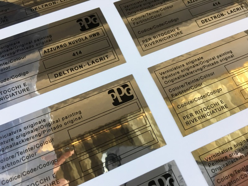 Stampa Etichette Venezia Argento cromo, adesivi cromati
