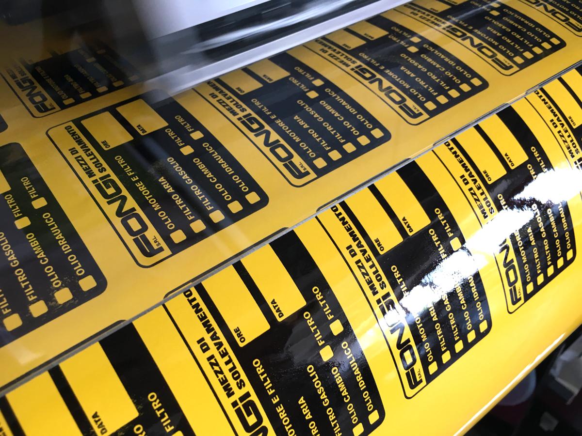 Stampa Etichette Adesivie PVC  monomerico colorato.