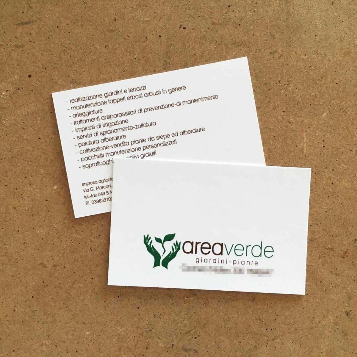Bigliettino da visita plastificati opachi Area Verde