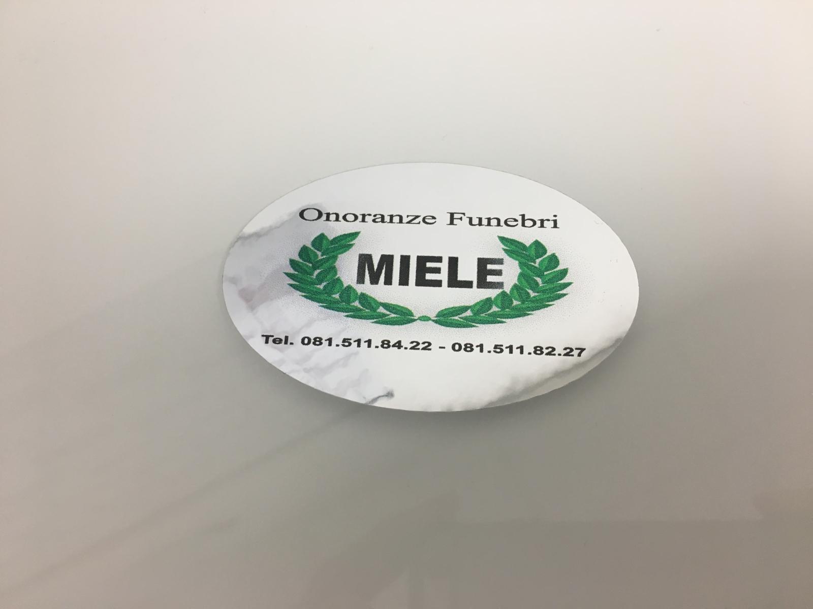 Etichette Adesive Cromate Ovali per onorante funebri, adesivi metallizzati