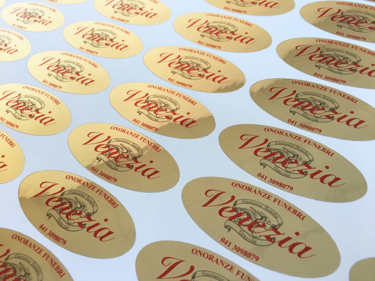 Adesivi Ovali Oro Cromo, Etichette Adesive