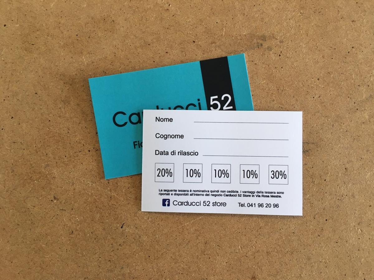 Tessera punti in cartoncino, Fidelity card a Venezia